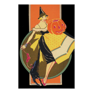 Art Deco Witch Jack O Lantern Pumpkin Poster
