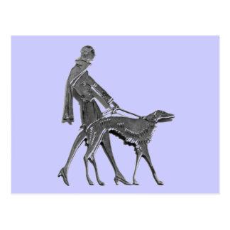 Art Deco Woman and Dog Postcard