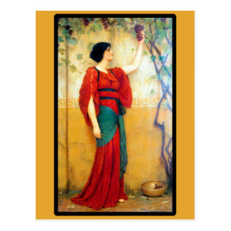 Art Deco Woman and Grapes Postcard