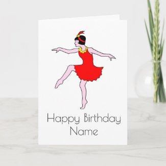 Art Deco Woman Dancer Birthday Card