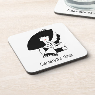 Art Deco Woman In Big Hat Gloves RL Coaster