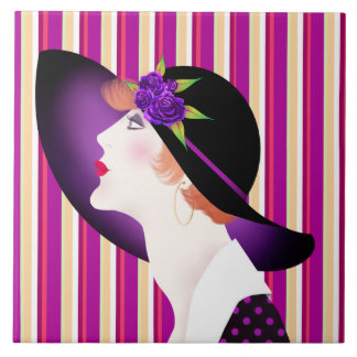 Art Deco Woman in Large Hat Tile