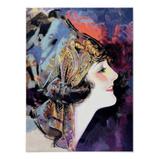 Art Deco Woman in Scarf Poster