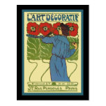 Art Deco Woman Painting Poppies Postcard