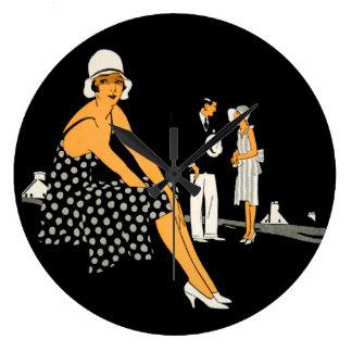 Art Deco Woman Shoes Polka Dot Black Large Clock