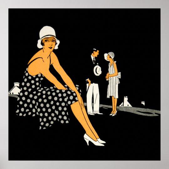 Art Deco Woman Shoes Polka Dot Black Poster