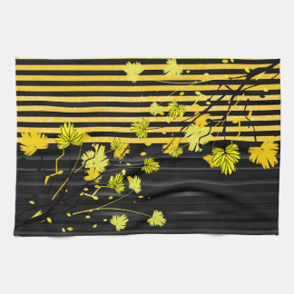 Art Deco Yellow and Black Floral Tea Towels