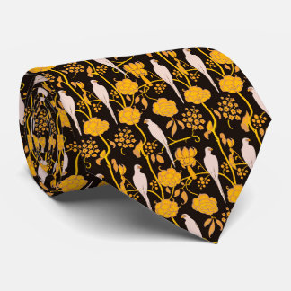 ART DECO YELLOW FLOWERS,WHITE PARROTS ON BLACK TIE