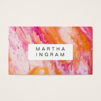 Art Design Abstract Bright Fresh Pink Yellow Business Card
