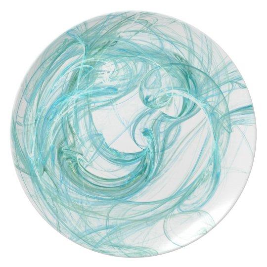 """Art Dinner Plate #1: """"Fractals"""" Brilliant Aqua"""