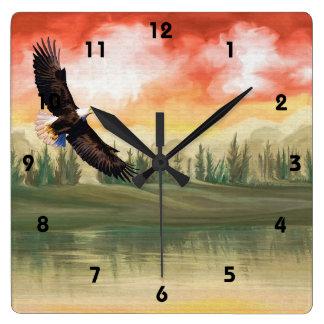 Art  Eagle Soaring Lake Wall Clock