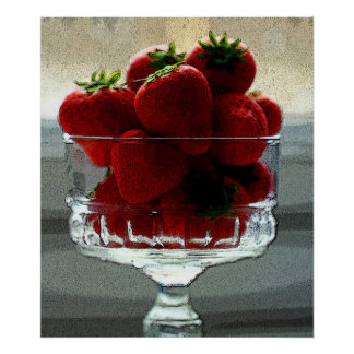 Art Effect Strawberry Still Life Poster