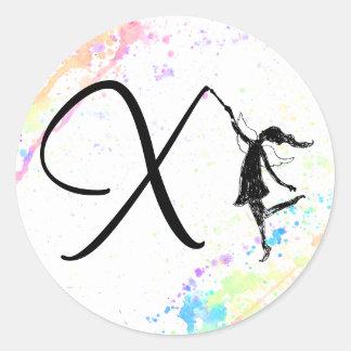 Art Fairy Alphabet: X - Color Splash Round Sticker