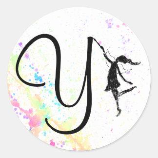 Art Fairy Alphabet: Y - Color Splash Round Sticker