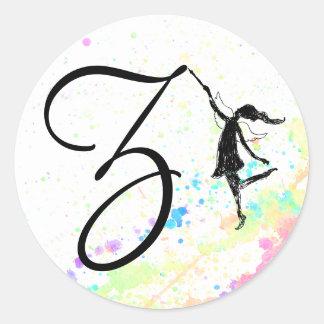 Art Fairy Alphabet: Z Color Splash Round Sticker