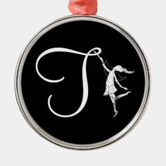 Art Fairy Initial: T Silver-Colored Round Decoration