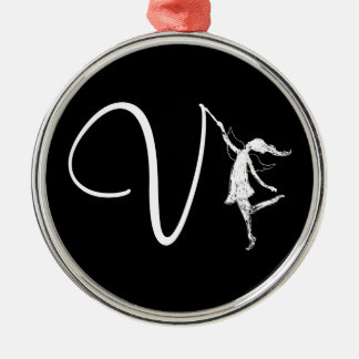 Art Fairy Initial: V Silver-Colored Round Decoration