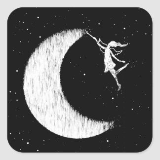 Art Fairy: Paint The Moon Square Sticker