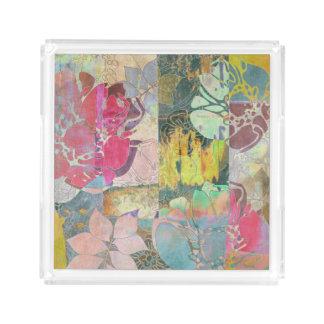 Art floral grunge pattern acrylic tray