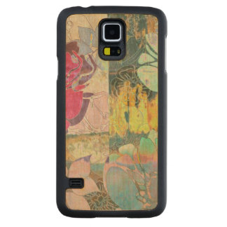 Art floral grunge pattern carved maple galaxy s5 case