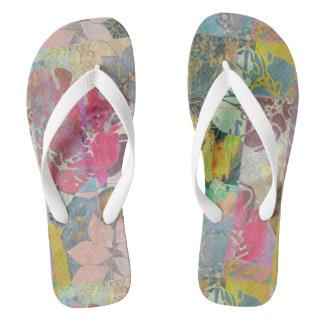 Art floral grunge pattern flip flops