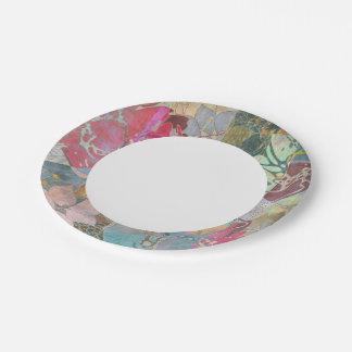 Art floral grunge pattern paper plate