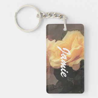 art floral vintage background in pastel colors Double-Sided rectangular acrylic key ring