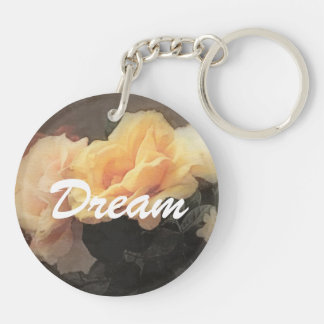 art floral vintage background in pastel colors Double-Sided round acrylic key ring