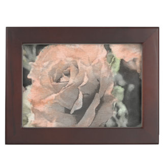 art floral vintage background with light pink keepsake box