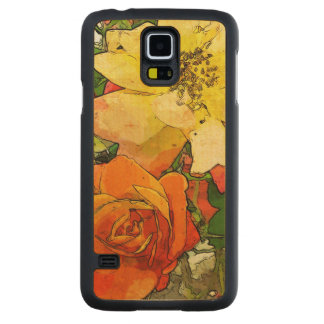 art floral vintage colorful background 2 carved maple galaxy s5 case