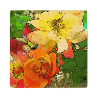 art floral vintage colorful background 2 wood coaster