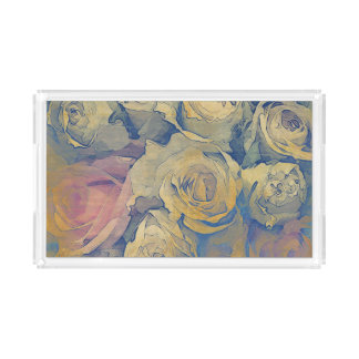 art floral vintage colorful background acrylic tray