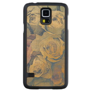 art floral vintage colorful background carved maple galaxy s5 case