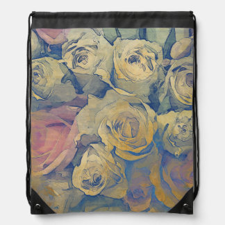 art floral vintage colorful background drawstring bag
