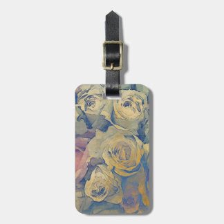 art floral vintage colorful background luggage tag