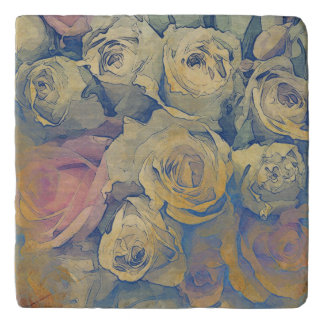 art floral vintage colorful background trivet