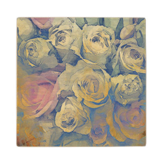 art floral vintage colorful background wood coaster