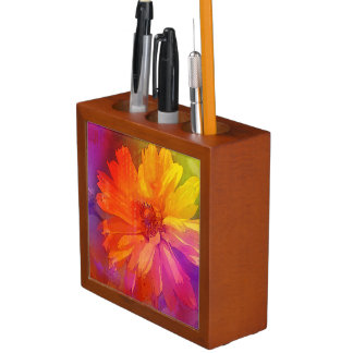 Art Floral Vintage Rainbow Background Desk Organiser