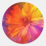 Art Floral Vintage Rainbow Background Round Sticker