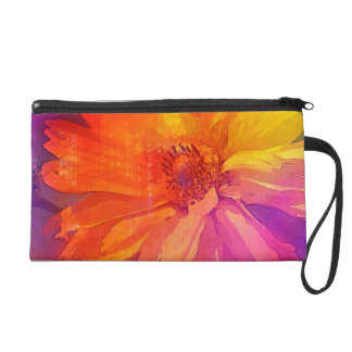 Art Floral Vintage Rainbow Background Wristlet
