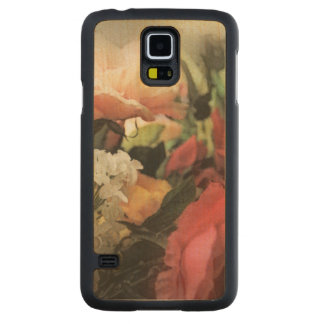 art floral vintage vibrant background with red carved maple galaxy s5 case