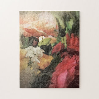 art floral vintage vibrant background with red jigsaw puzzle