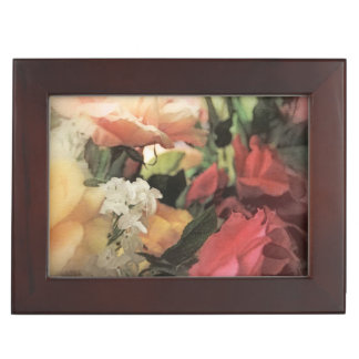 art floral vintage vibrant background with red keepsake box