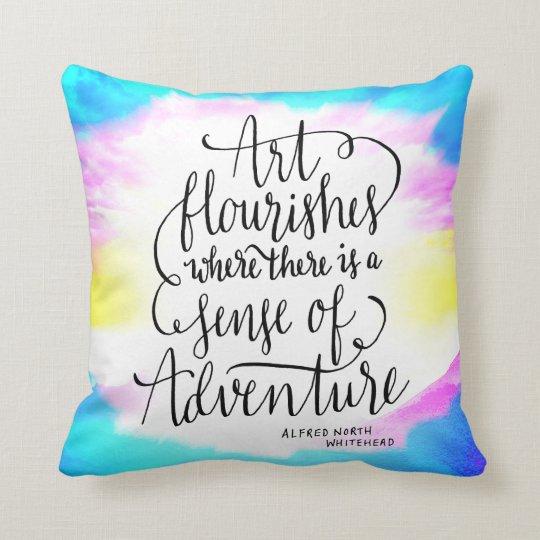 Art Flourishes Adventure Life Quote Throw Pillow