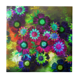 Art Flowers Painting Small Square Tile