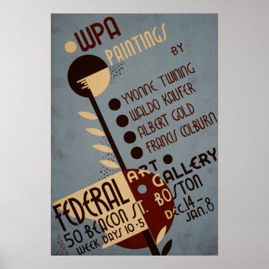 Art Gallery Boston Vintage WPA Poster
