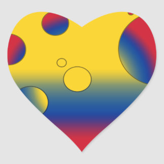 Art Gifts for Colombians: Flag Colors of Colombia Heart Sticker