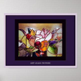Art Glass Elegant Table Flower Poster