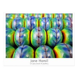 "Art Glass Lampwork Beads - ""Rainbow Tie-Dye"" Postcard"
