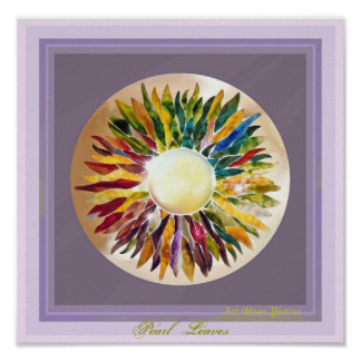 ART GLASS Pearl Leaves GLOSSY POSTER プリント